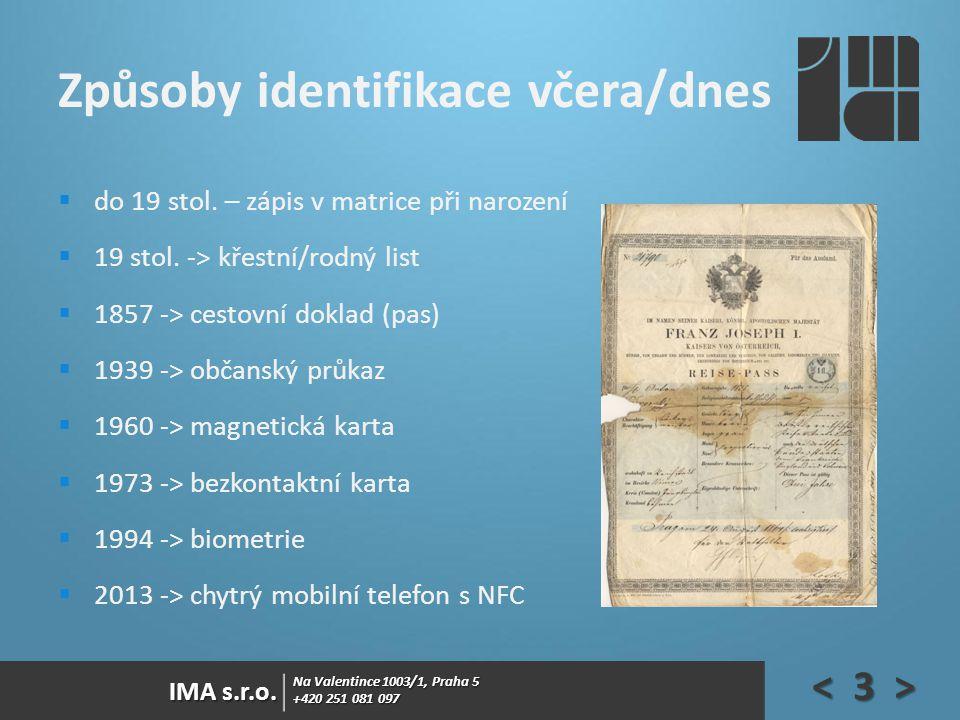 Na Valentince 1003/1, Praha 5 +420 251 081 097 IMA s.r.o. Způsoby identifikace včera/dnes  do 19 stol. – zápis v matrice při narození  19 stol. -> k