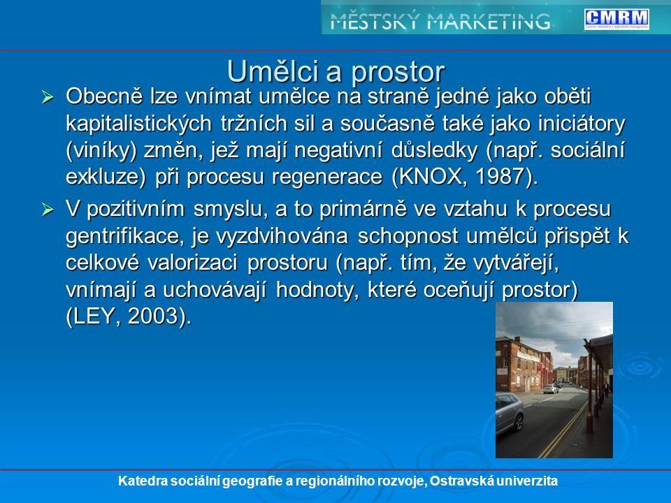 """ """"urbánní pionýři (urban catalyst) – zhodnocení nemovitosti renovací bytových či nebytových jednotek ruku v ruce s celkovou kultivací prostoru (ZUKIN, 1982)."""