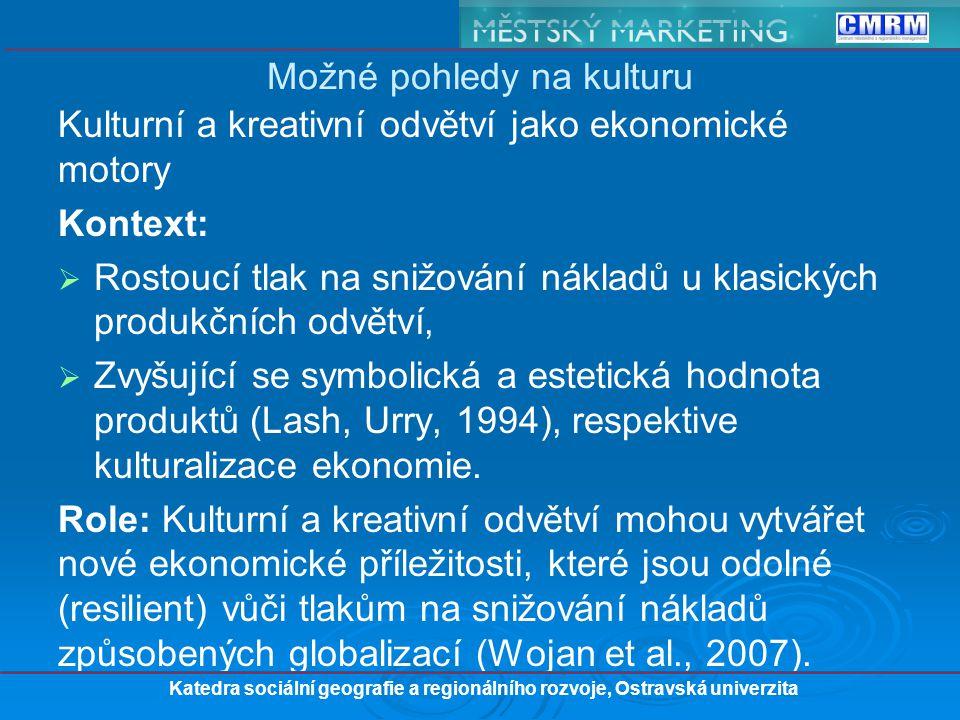 Kulturní a kreativní odvětví jako ekonomické motory Kontext:   Rostoucí tlak na snižování nákladů u klasických produkčních odvětví,   Zvyšující se symbolická a estetická hodnota produktů (Lash, Urry, 1994), respektive kulturalizace ekonomie.