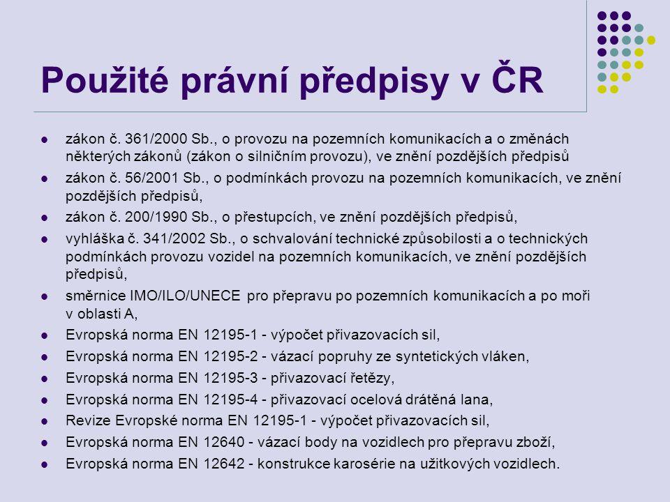 Použité právní předpisy v ČR  zákon č.