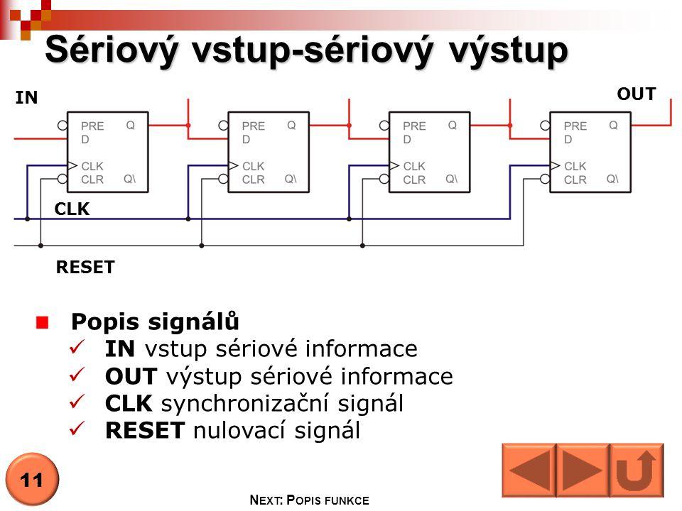 Sériový vstup-sériový výstup 11 N EXT : P OPIS FUNKCE IN OUT RESET CLK Popis signálů  IN vstup sériové informace  OUT výstup sériové informace  CLK