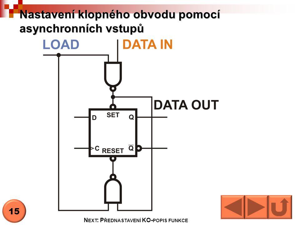 Nastavení klopného obvodu pomocí asynchronních vstupů N EXT : P ŘEDNASTAVENÍ KO- POPIS FUNKCE 15