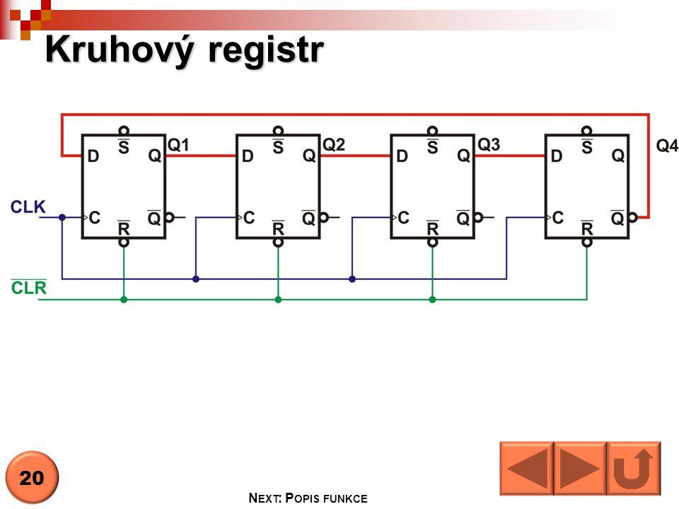 Kruhový registr N EXT : P OPIS FUNKCE 20