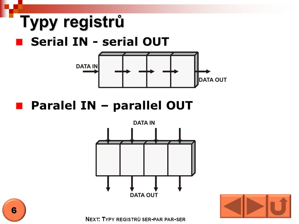 Typy registrů Serial IN - serial OUT Paralel IN – parallel OUT 6 N EXT : T YPY REGISTRŮ SER - PAR PAR - SER