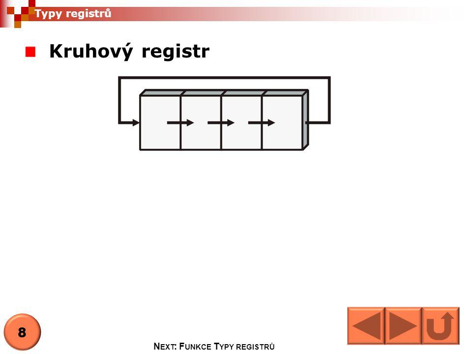 Kruhový registr Typy registrů 8 N EXT : F UNKCE T YPY REGISTRŮ