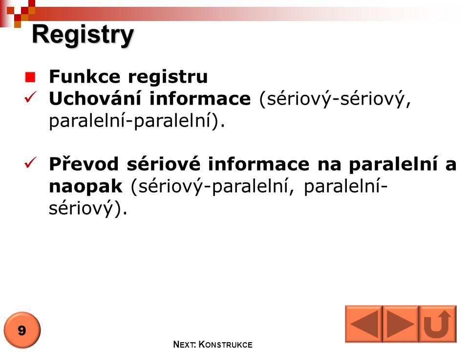 Registry Funkce registru  Uchování informace (sériový-sériový, paralelní-paralelní).  Převod sériové informace na paralelní a naopak (sériový-parale