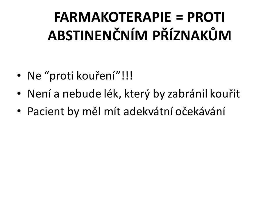 """FARMAKOTERAPIE = PROTI ABSTINENČNÍM PŘÍZNAKŮM • Ne """"proti kouření""""!!! • Není a nebude lék, který by zabránil kouřit • Pacient by měl mít adekvátní oče"""
