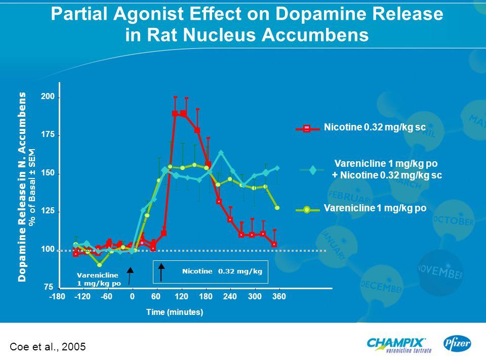 75 100 125 150 175 200 -180-120-60060120180240300360 Time (minutes) Dopamine Release in N. Accumbens % of Basal ± SEM Nicotine 0.32 mg/kg Nicotine 0.3
