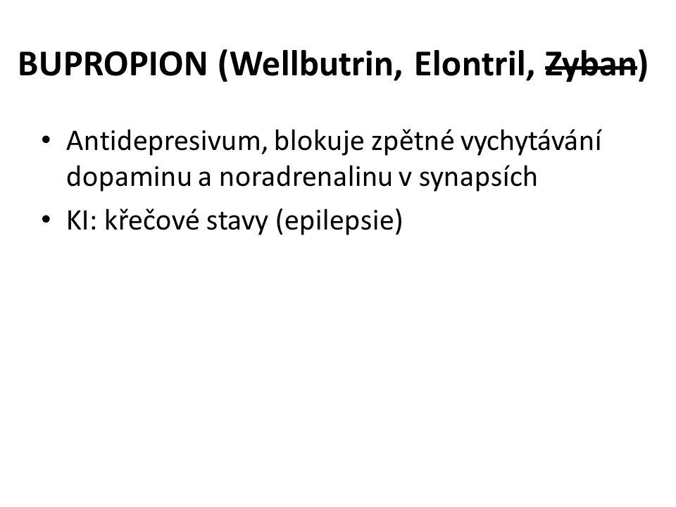 BUPROPION (Wellbutrin, Elontril, Zyban) • Antidepresivum, blokuje zpětné vychytávání dopaminu a noradrenalinu v synapsích • KI: křečové stavy (epileps