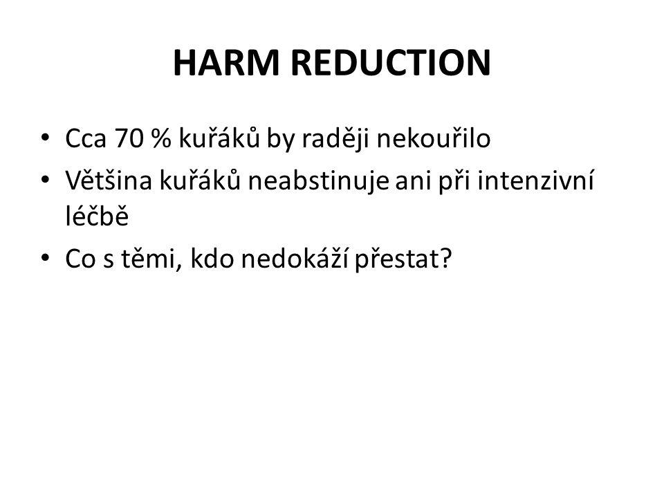 HARM REDUCTION • Cca 70 % kuřáků by raději nekouřilo • Většina kuřáků neabstinuje ani při intenzivní léčbě • Co s těmi, kdo nedokáží přestat?