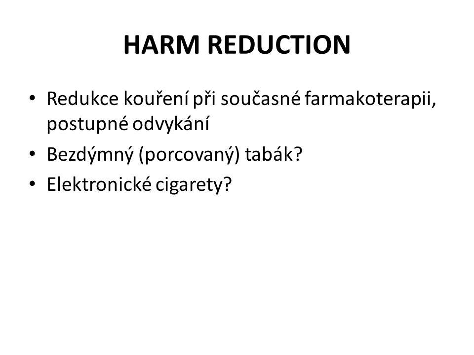 HARM REDUCTION • Redukce kouření při současné farmakoterapii, postupné odvykání • Bezdýmný (porcovaný) tabák? • Elektronické cigarety?