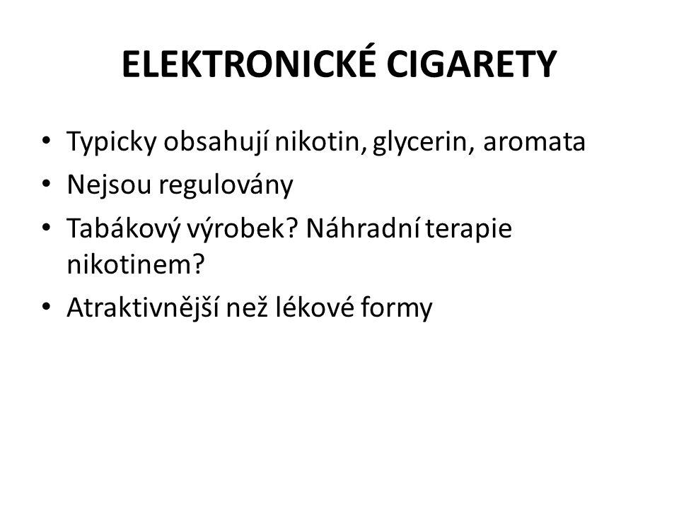 ELEKTRONICKÉ CIGARETY • Typicky obsahují nikotin, glycerin, aromata • Nejsou regulovány • Tabákový výrobek? Náhradní terapie nikotinem? • Atraktivnějš