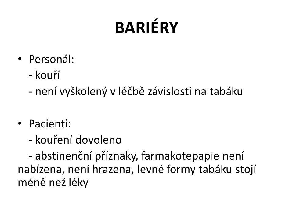 BARIÉRY • Personál: - kouří - není vyškolený v léčbě závislosti na tabáku • Pacienti: - kouření dovoleno - abstinenční příznaky, farmakotepapie není n