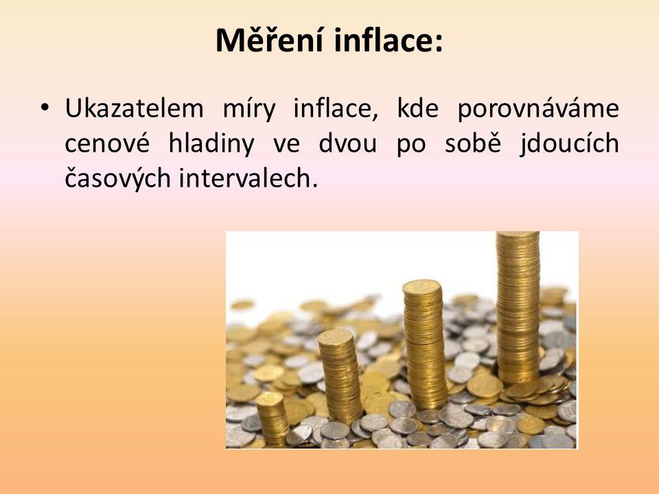 Měření inflace: • Ukazatelem míry inflace, kde porovnáváme cenové hladiny ve dvou po sobě jdoucích časových intervalech.