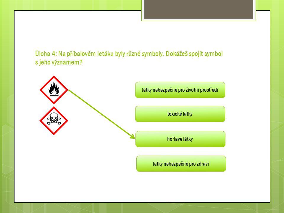 Úloha 4: Na příbalovém letáku byly různé symboly. Dokážeš spojit symbol s jeho významem? látky nebezpečné pro životní prostředí toxické látky hořlavé