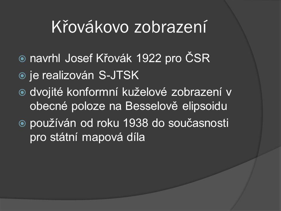 Křovákovo zobrazení  navrhl Josef Křovák 1922 pro ČSR  je realizován S-JTSK  dvojité konformní kuželové zobrazení v obecné poloze na Besselově elip