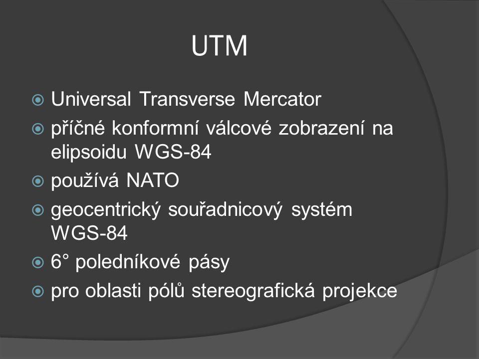 UTM  Universal Transverse Mercator  příčné konformní válcové zobrazení na elipsoidu WGS-84  používá NATO  geocentrický souřadnicový systém WGS-84