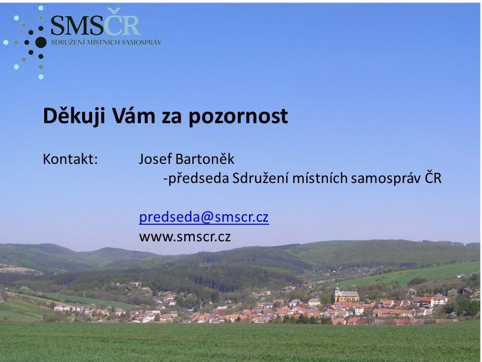 Děkuji Vám za pozornost Kontakt:Josef Bartoněk -předseda Sdružení místních samospráv ČR predseda@smscr.cz www.smscr.cz