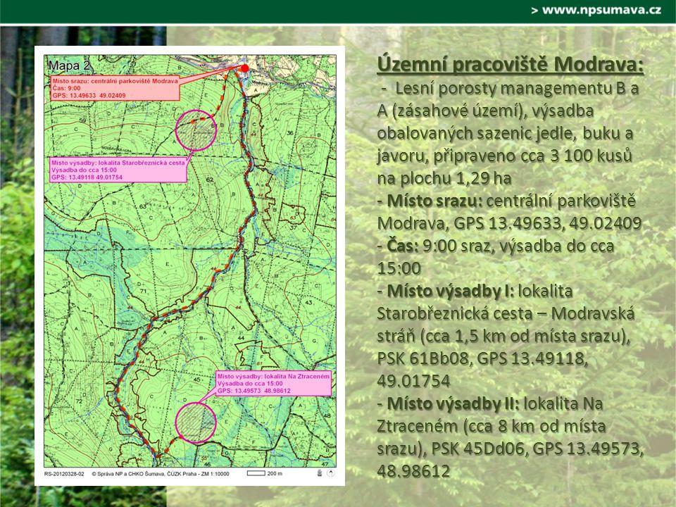 Územní pracoviště Modrava: - Lesní porosty managementu B a A (zásahové území), výsadba obalovaných sazenic jedle, buku a javoru, připraveno cca 3 100 kusů na plochu 1,29 ha - Místo srazu: centrální parkoviště Modrava, GPS 13.49633, 49.02409 - Čas: 9:00 sraz, výsadba do cca 15:00 - Místo výsadby I: lokalita Starobřeznická cesta – Modravská stráň (cca 1,5 km od místa srazu), PSK 61Bb08, GPS 13.49118, 49.01754 - Místo výsadby II: lokalita Na Ztraceném (cca 8 km od místa srazu), PSK 45Dd06, GPS 13.49573, 48.98612