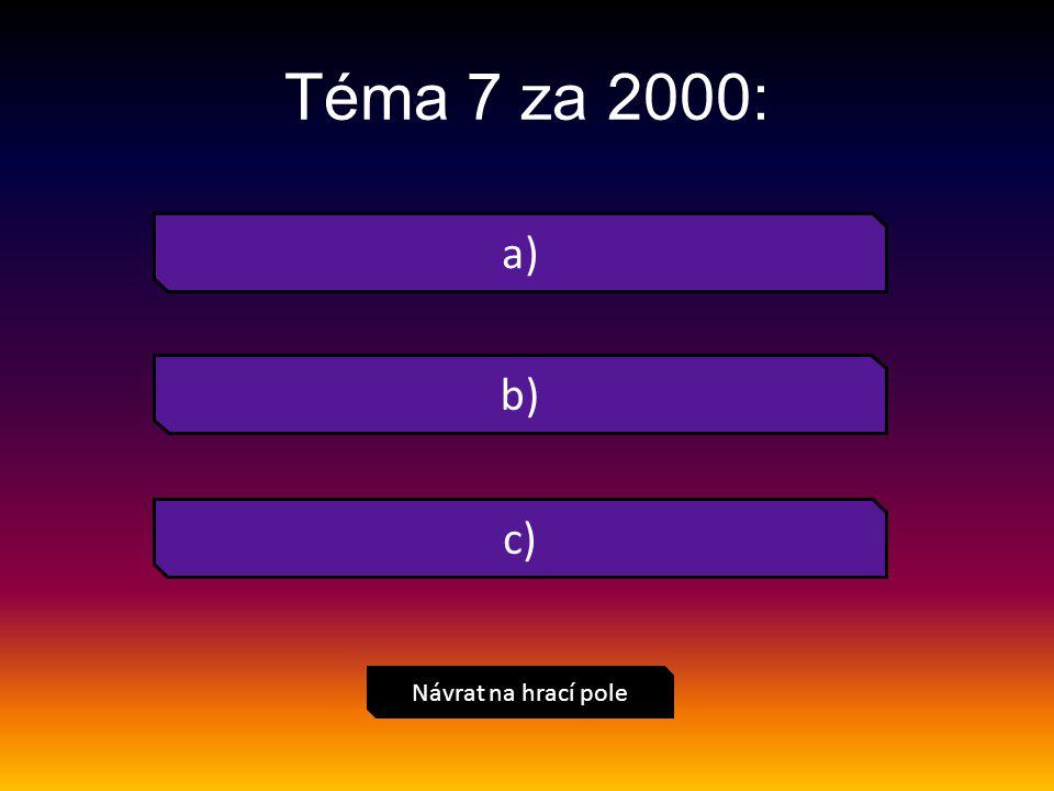 a) Návrat na hrací pole Téma 7 za 2000: b) c)