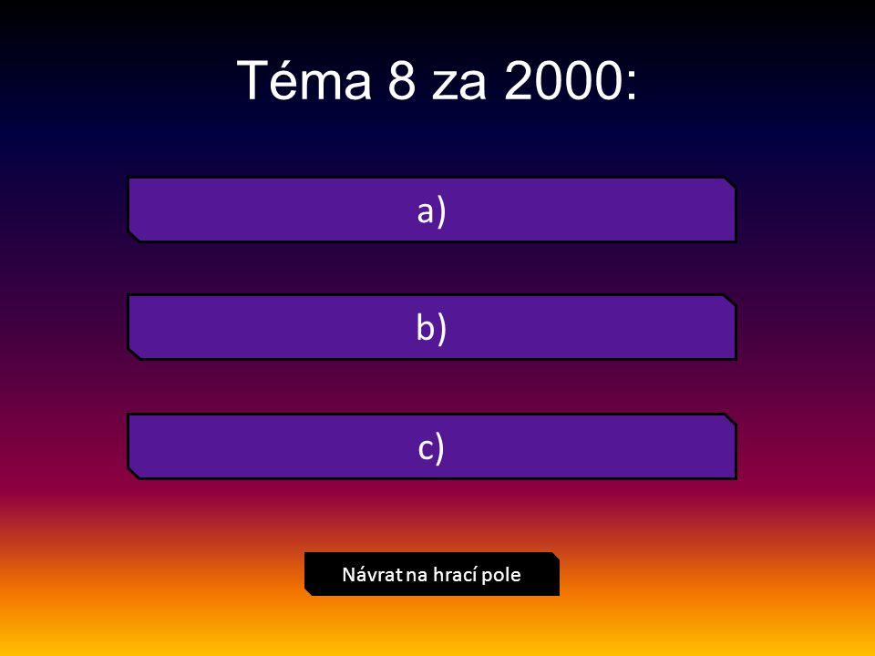 a) Návrat na hrací pole Téma 8 za 2000: b) c)