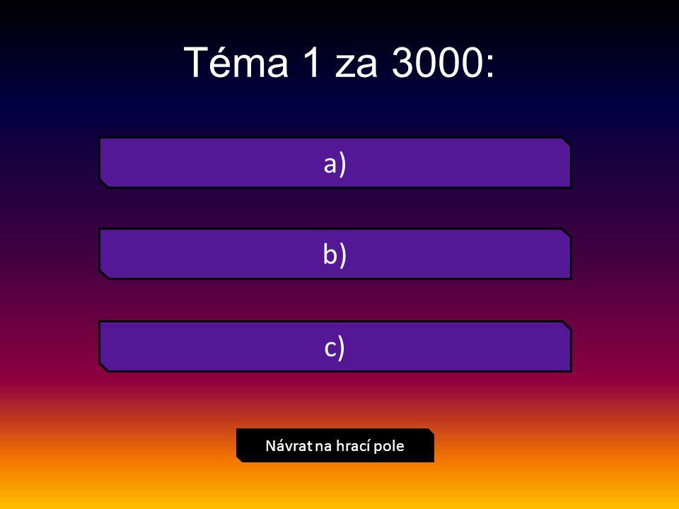 Téma 1 za 3000: Návrat na hrací pole a) b) c)