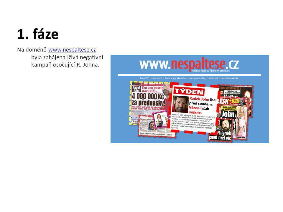 1. fáze Na doméně www.nespaltese.cz byla zahájena lživá negativní kampaň osočující R.