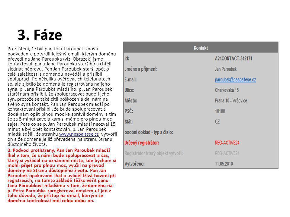 3. Fáze Po zjištění, že byl pan Petr Paroubek znovu podveden a potvrdil falešný email, kterým doménu převedl na Jana Paroubka (viz. Obrázek) jsme kont