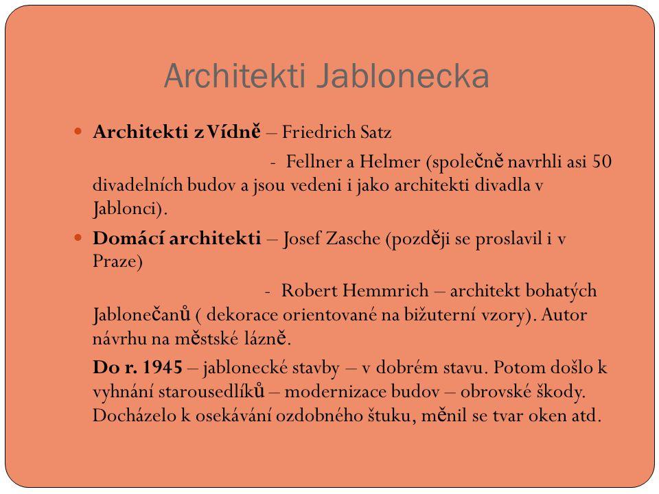 Architekti Jablonecka  Architekti z Vídn ě – Friedrich Satz - Fellner a Helmer (spole č n ě navrhli asi 50 divadelních budov a jsou vedeni i jako architekti divadla v Jablonci).