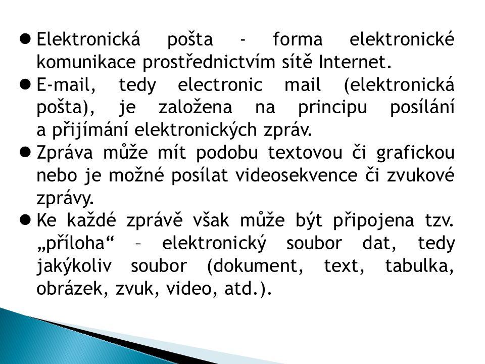  Elektronická pošta - forma elektronické komunikace prostřednictvím sítě Internet.