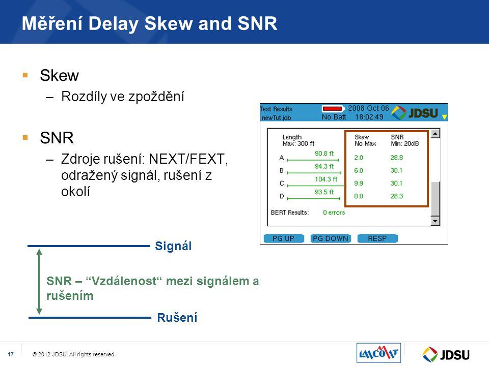 © 2012 JDSU. All rights reserved.17 Měření Delay Skew and SNR  Skew –Rozdíly ve zpoždění  SNR –Zdroje rušení: NEXT/FEXT, odražený signál, rušení z o