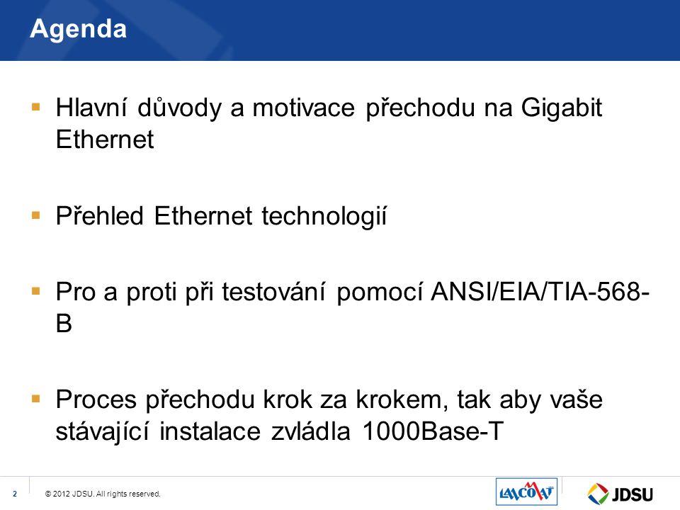 © 2012 JDSU. All rights reserved.2 Agenda  Hlavní důvody a motivace přechodu na Gigabit Ethernet  Přehled Ethernet technologií  Pro a proti při tes