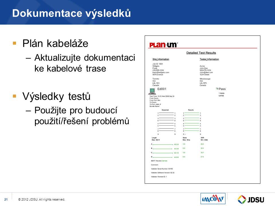 © 2012 JDSU. All rights reserved.21 Dokumentace výsledků  Plán kabeláže –Aktualizujte dokumentaci ke kabelové trase  Výsledky testů –Použijte pro bu