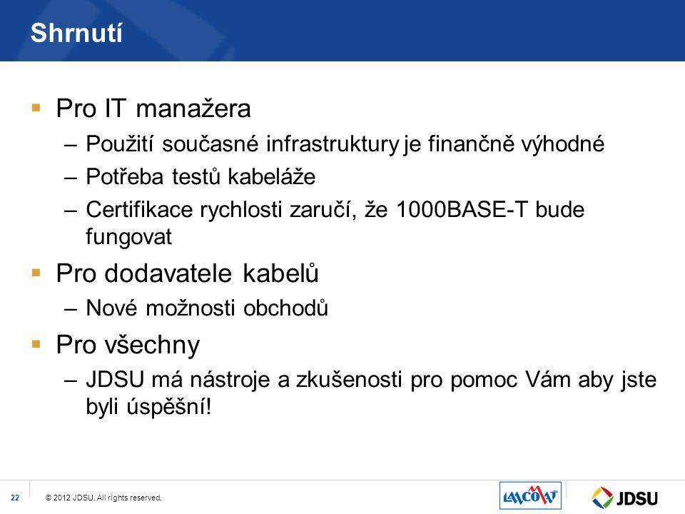 © 2012 JDSU. All rights reserved.22 Shrnutí  Pro IT manažera –Použití současné infrastruktury je finančně výhodné –Potřeba testů kabeláže –Certifikac