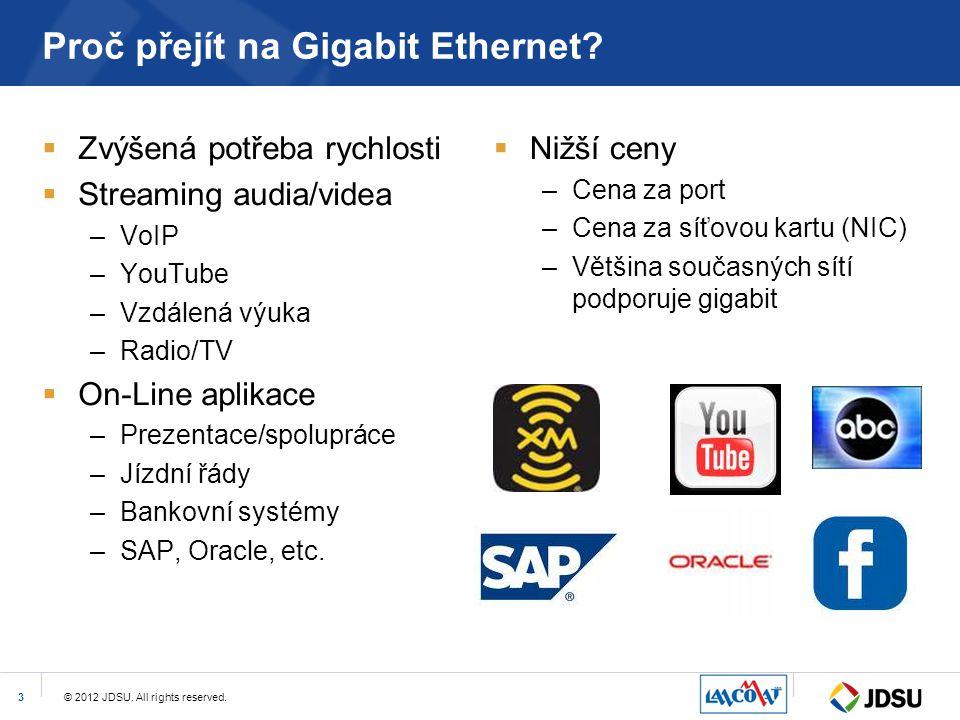 © 2012 JDSU. All rights reserved.3 Proč přejít na Gigabit Ethernet?  Zvýšená potřeba rychlosti  Streaming audia/videa –VoIP –YouTube –Vzdálená výuka