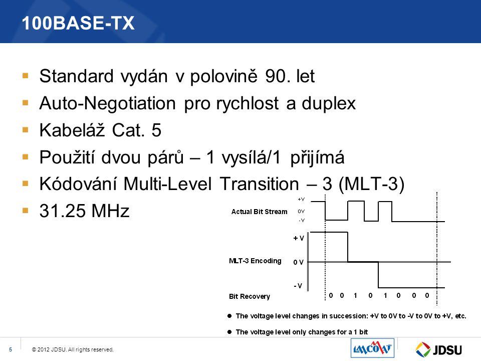 © 2012 JDSU. All rights reserved.5 100BASE-TX  Standard vydán v polovině 90. let  Auto-Negotiation pro rychlost a duplex  Kabeláž Cat. 5  Použití