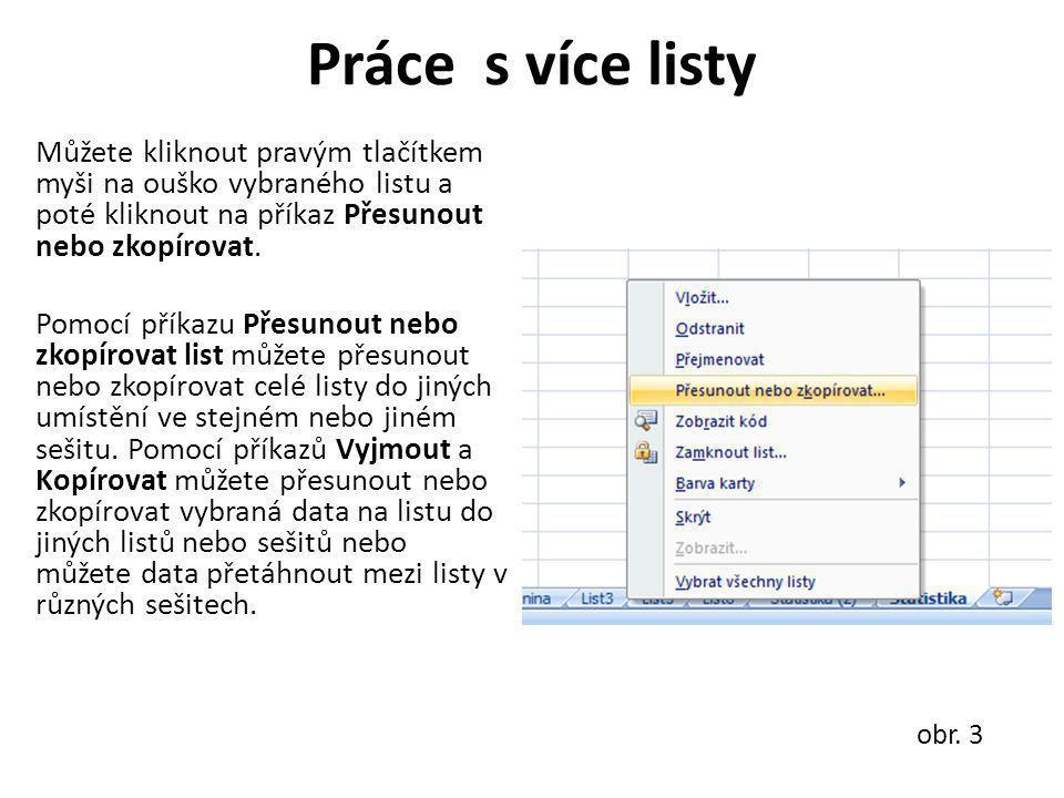 Práce s více listy Můžete kliknout pravým tlačítkem myši na ouško vybraného listu a poté kliknout na příkaz Přesunout nebo zkopírovat. Pomocí příkazu