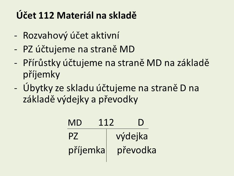 Účet 112 Materiál na skladě -Rozvahový účet aktivní -PZ účtujeme na straně MD -Přírůstky účtujeme na straně MD na základě příjemky -Úbytky ze skladu ú