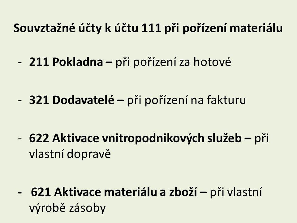 Souvztažné účty k účtu 111 při pořízení materiálu -211 Pokladna – při pořízení za hotové -321 Dodavatelé – při pořízení na fakturu -622 Aktivace vnitr