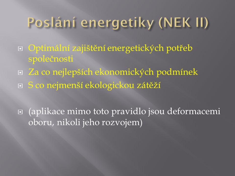  Optimální zajištění energetických potřeb společnosti  Za co nejlepších ekonomických podmínek  S co nejmenší ekologickou zátěží  (aplikace mimo to