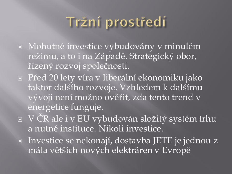 Mohutné investice vybudovány v minulém režimu, a to i na Západě. Strategický obor, řízený rozvoj společnosti.  Před 20 lety víra v liberální ekonom
