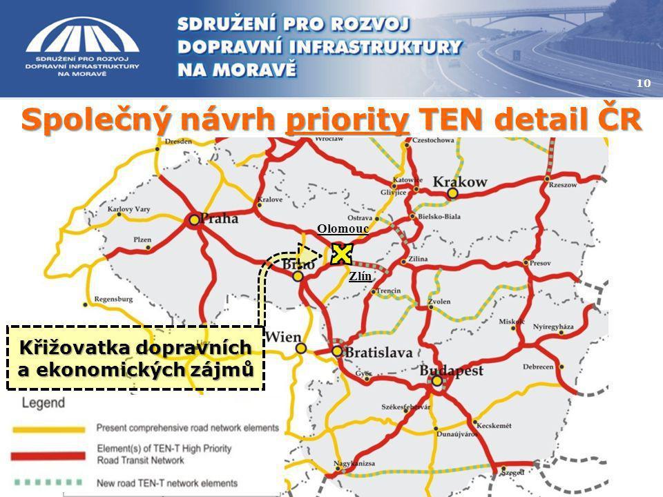 Společný návrh priority TEN detail ČR 10 Olomouc Zlín Křižovatka dopravních a ekonomických zájmů