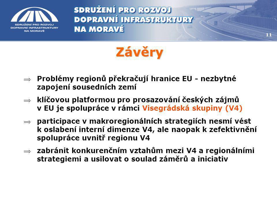 Závěry 11 Problémy regionů překračují hranice EU - nezbytné zapojení sousedních zemí klíčovou platformou pro prosazování českých zájmů v EU je spolu