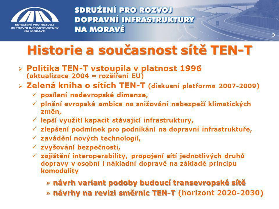 3 Historie a současnost sítě TEN-T  Politika TEN-T vstoupila v platnost 1996 (aktualizace 2004 = rozšíření EU)  Zelená kniha o sítích TEN-T (diskusn