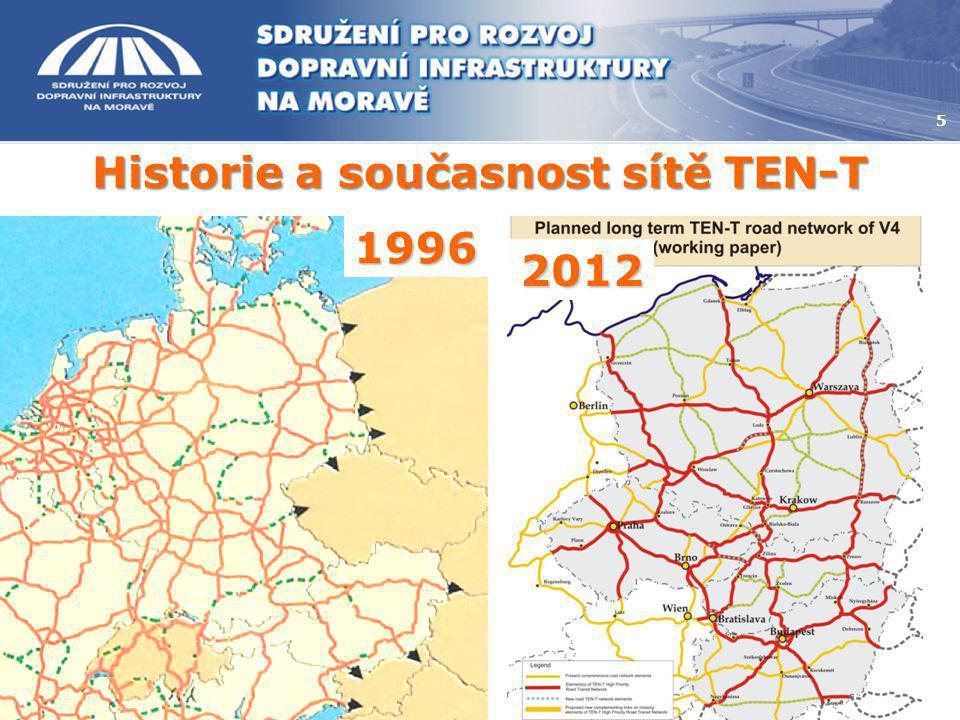 Historie a současnost sítě TEN-T 5 1996 2012