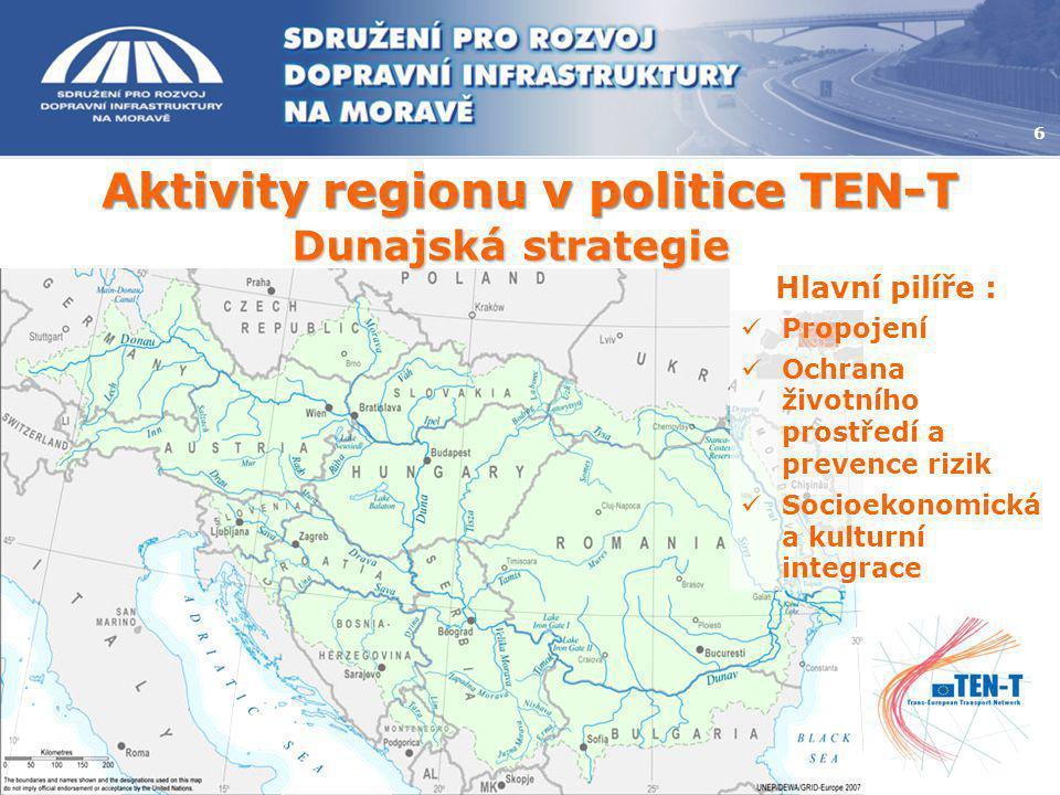 Aktivity regionu v politice TEN-T 6 Dunajská strategie Hlavní pilíře :  Propojení  Ochrana životního prostředí a prevence rizik  Socioekonomická a