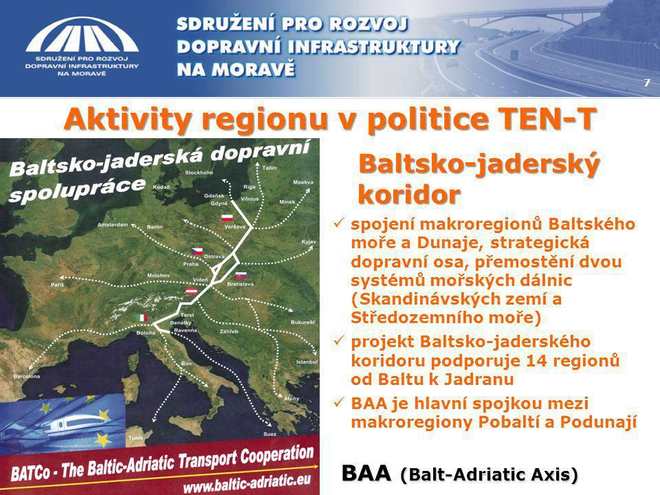 Aktivity regionu v politice TEN-T 7 BAA (Balt-Adriatic Axis) Baltsko-jaderský koridor  spojení makroregionů Baltského moře a Dunaje, strategická dopr