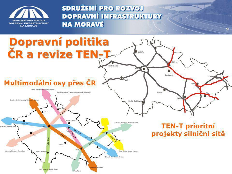 9 Multimodální osy přes ČR TEN-T prioritní projekty silniční sítě Dopravní politika ČR a revize TEN-T