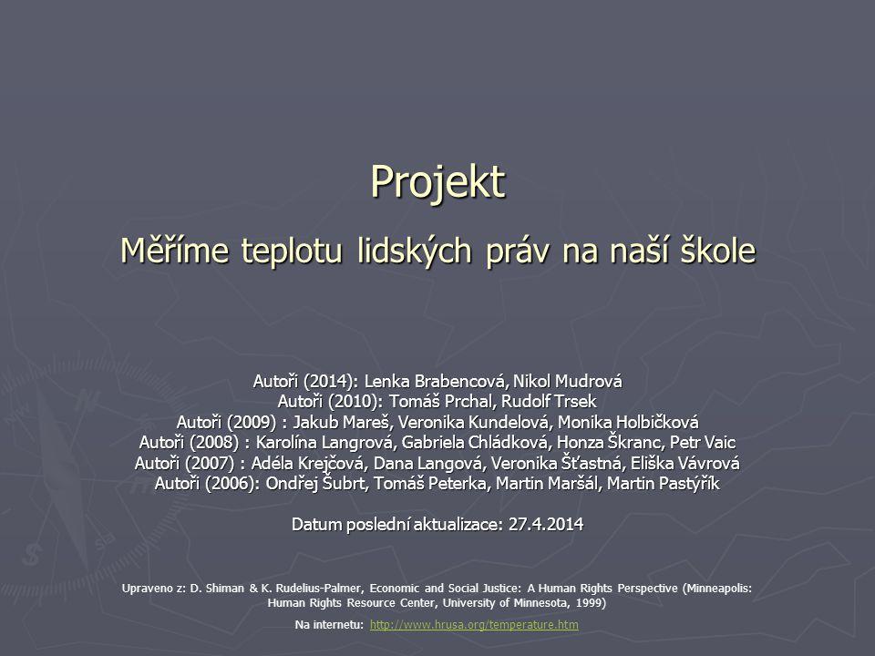 Projekt Měříme teplotu lidských práv na naší škole Autoři (2014): Lenka Brabencová, Nikol Mudrová Autoři (2010): Tomáš Prchal, Rudolf Trsek Autoři (20