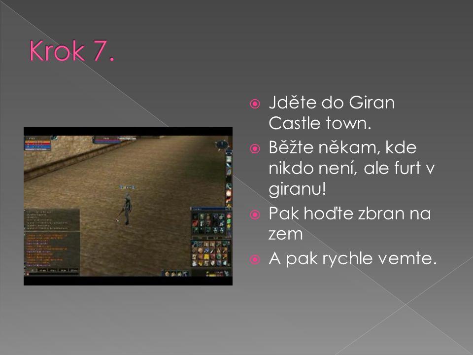  Jděte do Giran Castle town.  Běžte někam, kde nikdo není, ale furt v giranu!  Pak hoďte zbran na zem  A pak rychle vemte.